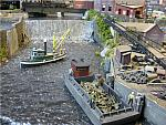 John Dombrowski     N scale barge with HO pilot house
